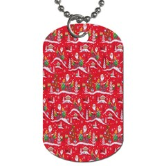 Red Background Christmas Dog Tag (one Side) by Nexatart