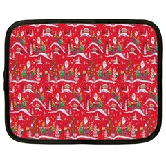 Red Background Christmas Netbook Case (large) by Nexatart