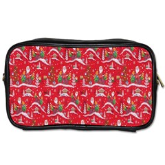 Red Background Christmas Toiletries Bags 2 Side