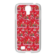 Red Background Christmas Samsung Galaxy S4 I9500/ I9505 Case (white)