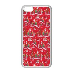 Red Background Christmas Apple Iphone 5c Seamless Case (white)