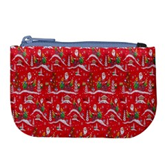 Red Background Christmas Large Coin Purse