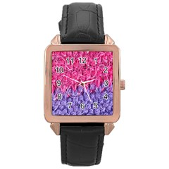 Wool Knitting Stitches Thread Yarn Rose Gold Leather Watch