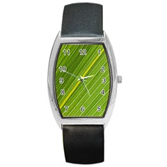 Leaf Plant Nature Pattern Barrel Style Metal Watch by Nexatart