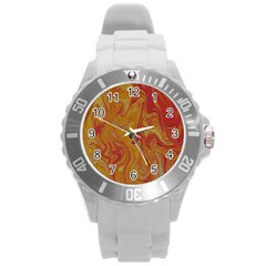 Texture Pattern Abstract Art Round Plastic Sport Watch (l)