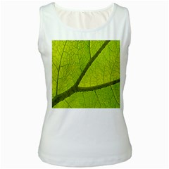 Green Leaf Plant Nature Structure Women s White Tank Top