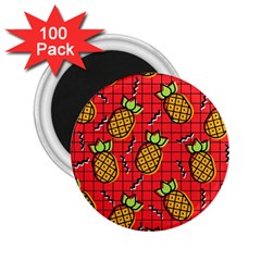 Fruit Pineapple Red Yellow Green 2 25  Magnets (100 Pack)