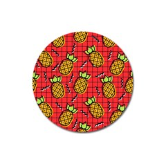 Fruit Pineapple Red Yellow Green Magnet 3  (round)