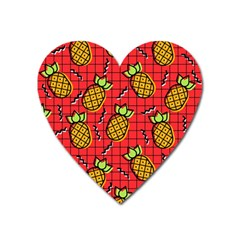Fruit Pineapple Red Yellow Green Heart Magnet by Alisyart
