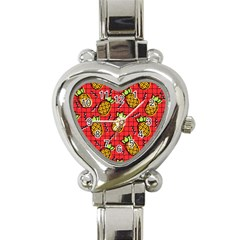 Fruit Pineapple Red Yellow Green Heart Italian Charm Watch