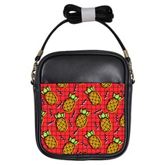 Fruit Pineapple Red Yellow Green Girls Sling Bags