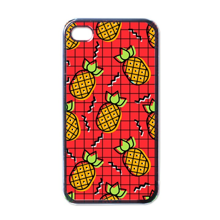 Fruit Pineapple Red Yellow Green Apple iPhone 4 Case (Black)