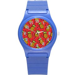 Fruit Pineapple Red Yellow Green Round Plastic Sport Watch (s)