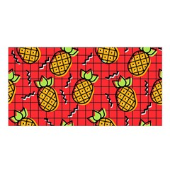 Fruit Pineapple Red Yellow Green Satin Shawl