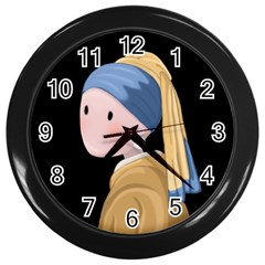 Girl With A Pearl Earring Wall Clocks (black) by Valentinaart