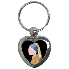 Girl With A Pearl Earring Key Chains (heart)  by Valentinaart