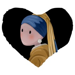 Girl With A Pearl Earring Large 19  Premium Flano Heart Shape Cushions by Valentinaart