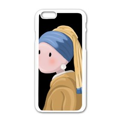 Girl With A Pearl Earring Apple Iphone 6/6s White Enamel Case by Valentinaart