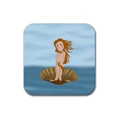 The Birth Of Venus Rubber Square Coaster (4 Pack)  by Valentinaart