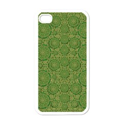 Stars In The Wooden Forest Night In Green Apple Iphone 4 Case (white) by pepitasart