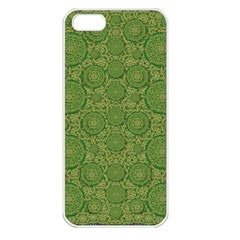 Stars In The Wooden Forest Night In Green Apple Iphone 5 Seamless Case (white) by pepitasart