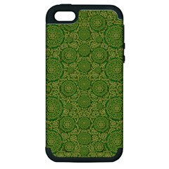 Stars In The Wooden Forest Night In Green Apple Iphone 5 Hardshell Case (pc+silicone) by pepitasart