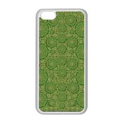 Stars In The Wooden Forest Night In Green Apple Iphone 5c Seamless Case (white) by pepitasart