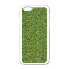 Stars In The Wooden Forest Night In Green Apple Iphone 6/6s White Enamel Case by pepitasart