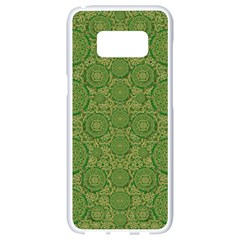 Stars In The Wooden Forest Night In Green Samsung Galaxy S8 White Seamless Case by pepitasart