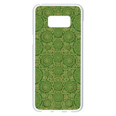 Stars In The Wooden Forest Night In Green Samsung Galaxy S8 Plus White Seamless Case by pepitasart