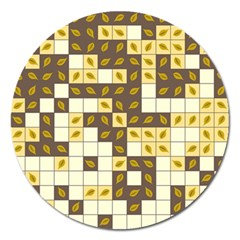 Autumn Leaves Pattern Magnet 5  (round)