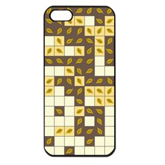 Autumn Leaves Pattern Apple Iphone 5 Seamless Case (black) by linceazul