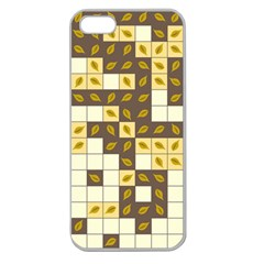 Autumn Leaves Pattern Apple Seamless Iphone 5 Case (clear) by linceazul
