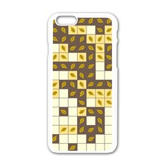 Autumn Leaves Pattern Apple Iphone 6/6s White Enamel Case by linceazul