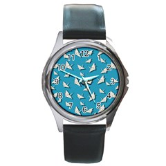 Paper Cranes Pattern Round Metal Watch by Valentinaart