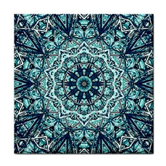 Green Blue Black Mandala  Psychedelic Pattern Tile Coasters by Costasonlineshop