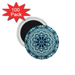 Green Blue Black Mandala  Psychedelic Pattern 1 75  Magnets (100 Pack)  by Costasonlineshop