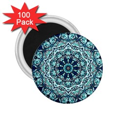 Green Blue Black Mandala  Psychedelic Pattern 2 25  Magnets (100 Pack)  by Costasonlineshop