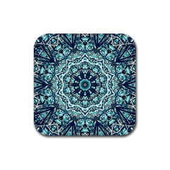 Green Blue Black Mandala  Psychedelic Pattern Rubber Coaster (square)  by Costasonlineshop