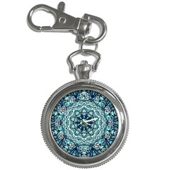 Green Blue Black Mandala  Psychedelic Pattern Key Chain Watches by Costasonlineshop