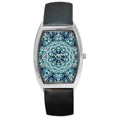 Green Blue Black Mandala  Psychedelic Pattern Barrel Style Metal Watch by Costasonlineshop