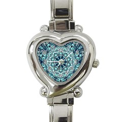 Green Blue Black Mandala  Psychedelic Pattern Heart Italian Charm Watch by Costasonlineshop