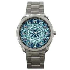 Green Blue Black Mandala  Psychedelic Pattern Sport Metal Watch by Costasonlineshop