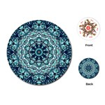 Green Blue Black Mandala  Psychedelic Pattern Playing Cards (Round)  Front