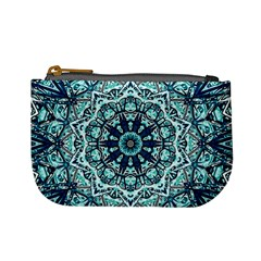 Green Blue Black Mandala  Psychedelic Pattern Mini Coin Purses by Costasonlineshop