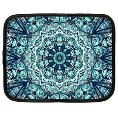 Green Blue Black Mandala  Psychedelic Pattern Netbook Case (xxl)  by Costasonlineshop