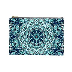 Green Blue Black Mandala  Psychedelic Pattern Cosmetic Bag (large)  by Costasonlineshop