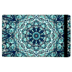 Green Blue Black Mandala  Psychedelic Pattern Apple Ipad 3/4 Flip Case by Costasonlineshop