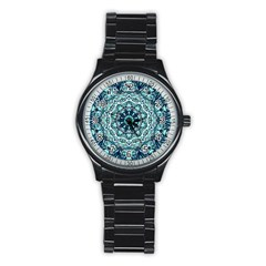 Green Blue Black Mandala  Psychedelic Pattern Stainless Steel Round Watch by Costasonlineshop