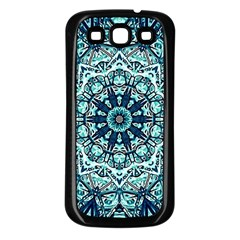 Green Blue Black Mandala  Psychedelic Pattern Samsung Galaxy S3 Back Case (black) by Costasonlineshop